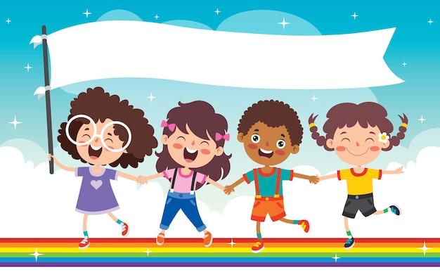 Multi etniczne dzieci bawiące się na tęczy