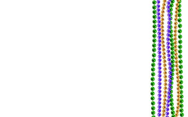 Multi kolor 3d złote, zielone, fioletowe koraliki na białym tle. zestaw na uroczysty projekt, święta bożego narodzenia, kartkę z życzeniami. dekoracje mardi gras, element projektu. ilustracja