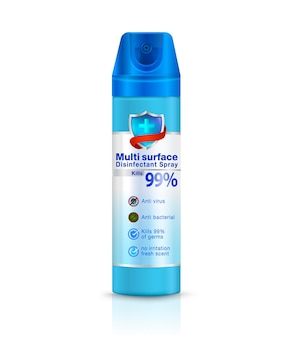 Multi surface disinfectant spray packaging design spray czyszczący zabija zarazki bakterie wirusowe