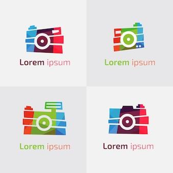 Multicolor kolekcja logo kamery