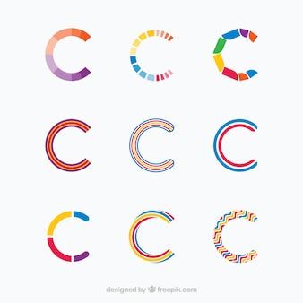 Multicolor litera c logo kolekcji