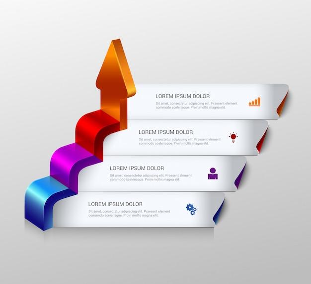 Multicolor strzałka rosną kroki szablon infografiki