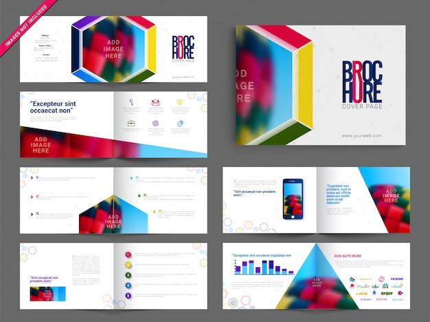 Multipage brochure, leaflet design pack z kolorowym abstrakcyjnym wzorem geometrycznym