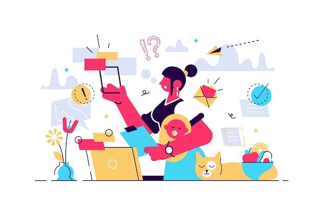 Multitasking ruchliwie mamy pojęcie w domu, ilustracyjny malutki żeńskiej osoby pojęcie. kobieta zarządzająca równowagą między życiem rodzinnym, pracą domową i karierą biznesową. przeciążona osoba pod presją.