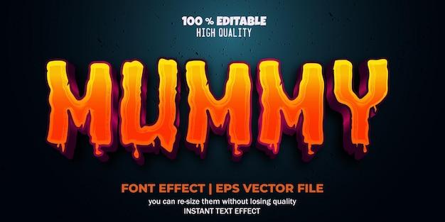 Mumia efekt tekstowy edytowalny potwór i przerażający styl tekstu