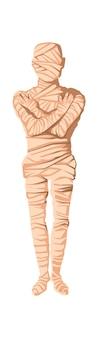 Mumia stworzenie kreskówka wektor ilustracja. etap procesu mumifikacji, balsamowanie martwego ciała, owijanie go szmatką. tradycje starożytnego egiptu, kult zmarłych