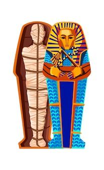 Mumia stworzenie kreskówka wektor ilustracja. etapy procesu mumifikacji, balsamowanie zwłok, zawijanie w szmatkę i umieszczanie w egipskim sarkofagu. tradycje starożytnego egiptu, kult zmarłych