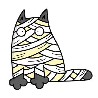 Mumia szarego kota. straszny kostium na halloween. ilustracja w stylu doodle