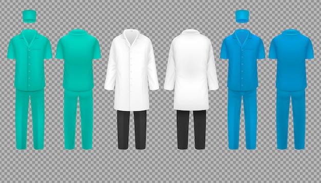 Mundur lekarza, płaszcz pielęgniarki szpitala i kostium chirurga, koszula laboratoryjna zestaw na białym tle