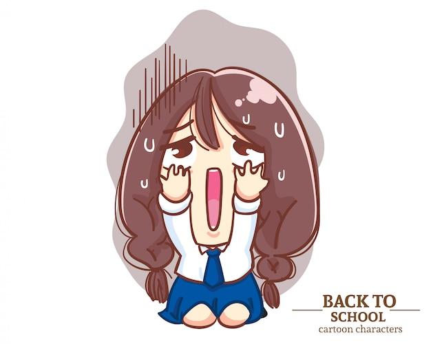 Mundurki uczniów cute girl były bardzo szokujące po powrocie do szkoły. ilustracja kreskówka premium wektorów