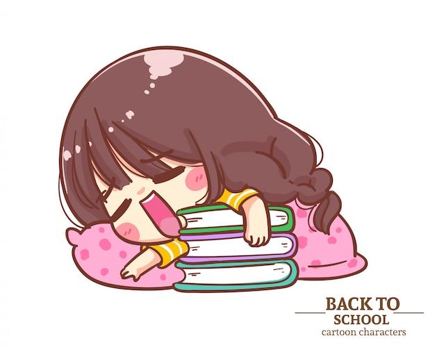 Mundurki uczniów cute girl leżały na książce wracając do szkoły. ilustracja kreskówka premium wektorów