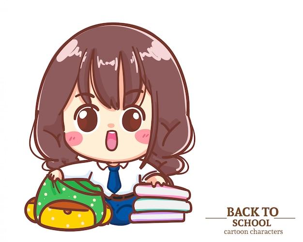 Mundurki uczniów cute girl wkładają książki z powrotem do szkoły. ilustracja kreskówka premium wektorów