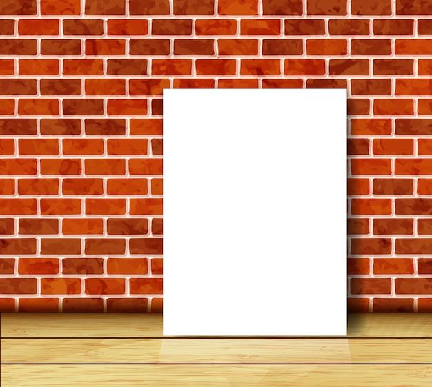 Mur z cegły z białym tłem arkusza papieru