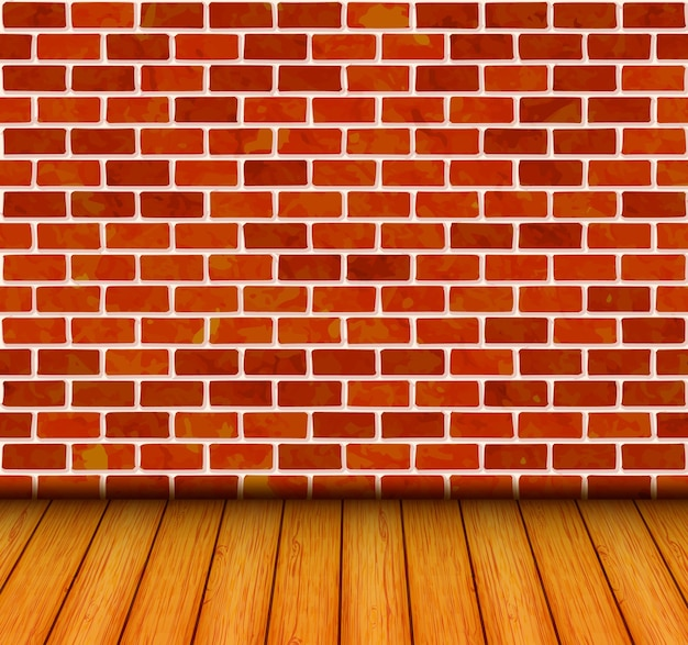 Mur z cegły z podłogą drewnianą w tle