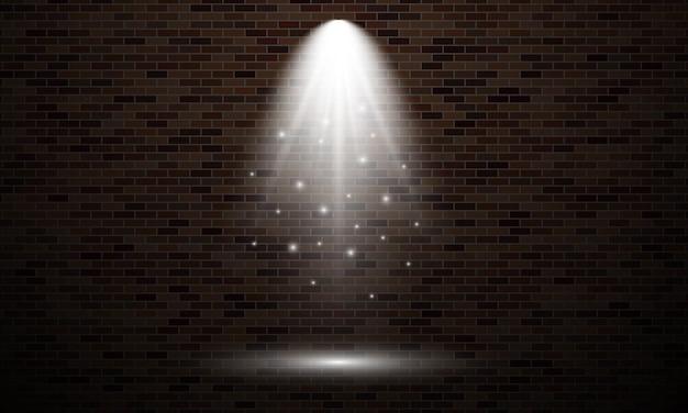 Mur z cegły z punktem świetlnym. na białym tle efekt świetlny koloru białego na tle ciemnej cegły ściany. ilustracja wektorowa