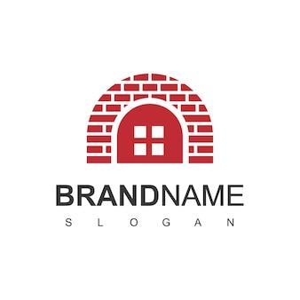 Murowany dom, szablon logo nieruchomości