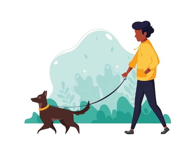 Murzyn z psem w parku. ilustracja koncepcja zdrowego stylu życia, sportu, ćwiczeń. w stylu płaskiej.