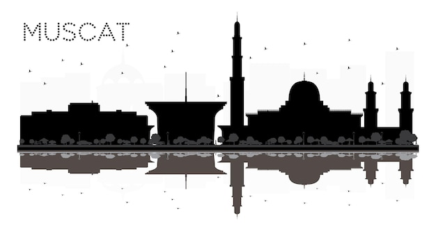 Muscat city skyline czarno-biała sylwetka z odbiciami. ilustracja wektorowa. prosta koncepcja płaska do prezentacji turystyki, banera, afiszu lub strony internetowej. pejzaż miejski z zabytkami.