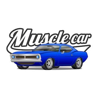 Muscle car kreskówka klasyczny wektor plakat t-shirt z nadrukiem