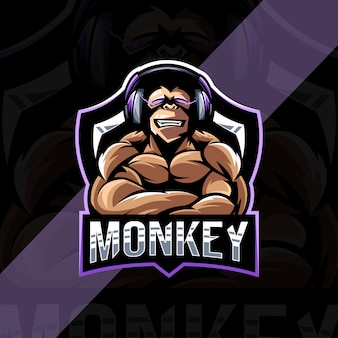 Muscle monkey gamers maskotka logo szablon esport