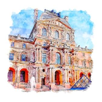 Musee du louvre paris szkic akwarela ręcznie rysowane ilustracji