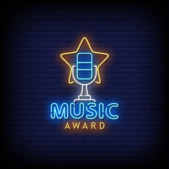 Music award neon signs style