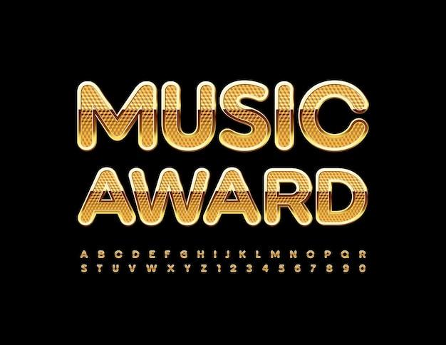 Music award teksturowana złota czcionka błyszczący zestaw liter i cyfr alfabetu