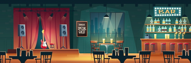 Music bar, pub piwny z animowanym wystrojem wnętrza na żywo