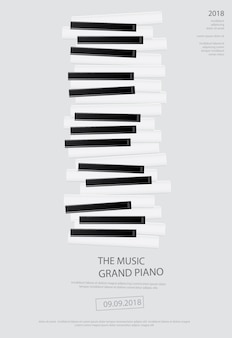 Music grand piano poster