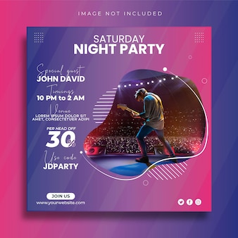 Music party post w mediach społecznościowych i szablon projektu banera