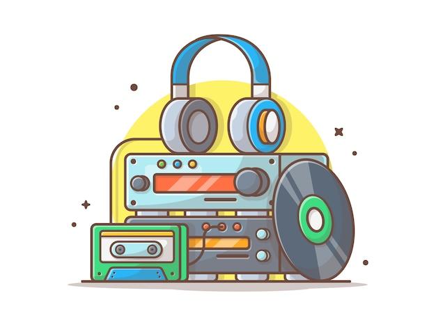 Music spund player z winylem, sassette i słuchawkami. system dźwięku biały na białym tle