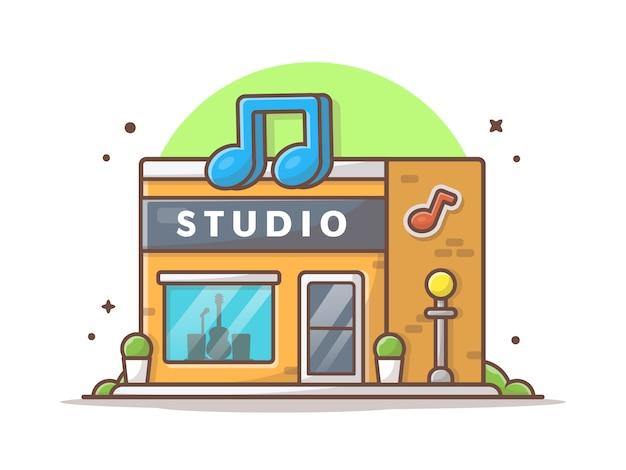 Music studio ikona ilustracja. nowoczesne studio nagrań przemysłu budynek architektura biały na białym tle