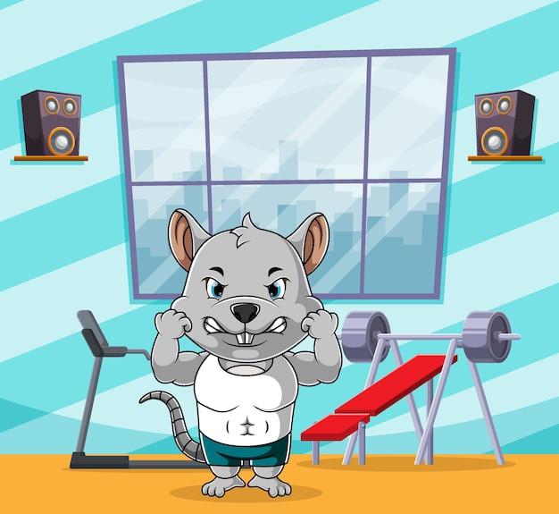 Muskularna mysz uprawiająca sport na siłowni