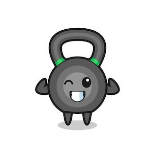Muskularna postać kettleballa pozuje pokazując swoje mięśnie, ładny styl na koszulkę, naklejkę, element logo