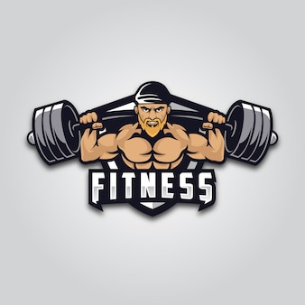 Muskularny mężczyzna fitness maskotka logo