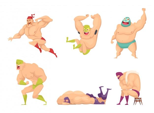 Muskularny zapaśnik, wojownik mma w specjalnym kostiumie meksykańskiej libre fantazyjne postacie ludzi luchador izolowane