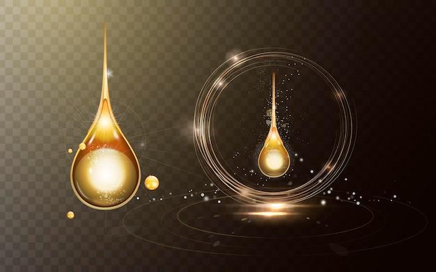 Musująca złota kropla oleju z efektami na przezroczystym tle