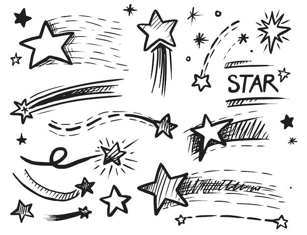 Musujące gwiazda komiks zarysowane elementy na białym tle