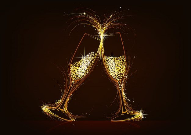 Musujące kieliszki do szampana z brokatem
