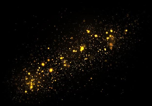 Musujące złote magiczne gwiazdy komety czarne tło