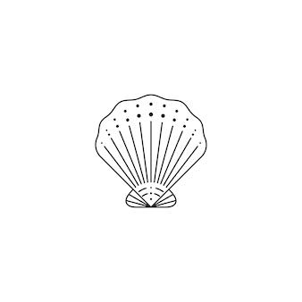 Muszla ikona w modnym minimalistycznym stylu liniowym. ilustracja wektorowa muszli ostrygi na logo, stronę internetową, nadruk na koszulce, tatuaż, post w mediach społecznościowych i historie