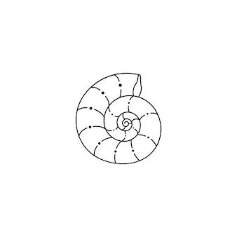 Muszla ikona w modnym minimalistycznym stylu liniowym. ilustracja wektorowa nautilusa na logo, stronę internetową, nadruk na koszulce, tatuaż, post w mediach społecznościowych i historie