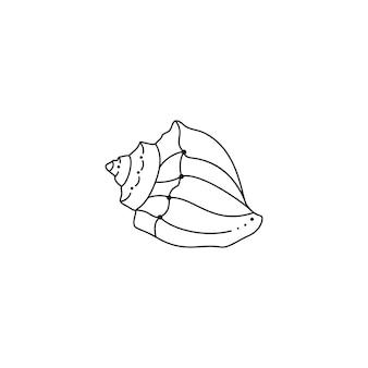 Muszla ikona w modnym minimalistycznym stylu liniowym. ilustracja wektorowa powłoki spiralnej na stronę internetową, nadruk na koszulce, tatuaż, post w mediach społecznościowych i historie