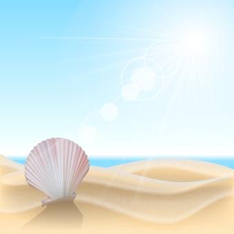 Muszla na plaży. ilustracja lato wakacje