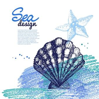 Muszla tło. morski projekt nautyczny. ręcznie rysowane szkic i akwarela ilustracji wektorowych