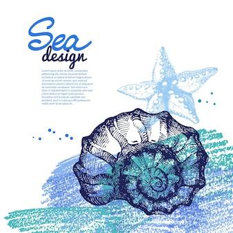 Muszla tło. morski projekt nautyczny. ręcznie rysowane szkic i ilustracja ołówkiem