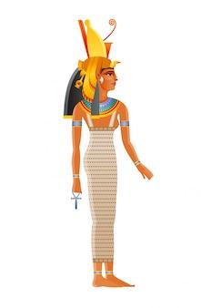 Mut starożytnego egipskiego daity. matka bogini czczona w starożytnym egipcie. ma na sobie podwójną koronę i nakrycie głowy sępa królewskiego. może być także królową nefertari meritmut, żoną faraona.