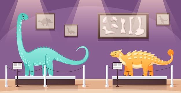 Muzeum historyczne z dwoma kolorowymi dinozaurami