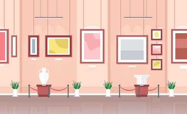 Muzeum lub galeria wnętrze wystawy sztuki abstrakcyjnej, kolorowe obrazy na ścianach i rzeźby