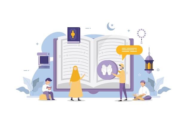 Muzułmanie czytają i uczą się islamskiej świętej księgi koranu